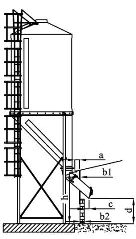 Silos en acier de 3,5 à 21,5 m3 (reprise à l'intérieur d'un bâtiment)