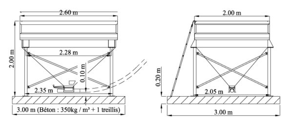 Trémie de base avec embase fixe, non orientable pour reprise par vis. Sans échelle (car hauteur totale < 2 m)