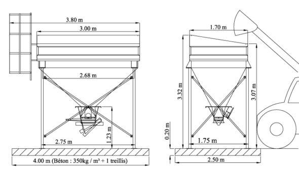 Trémie avec boitier orientable, pour reprise par vis. Echelle obligatoire (car hauteur > 2 m)